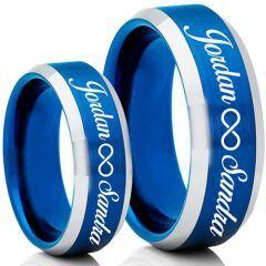 COI Tungsten Carbide Blue Silver Ring With Custom Names Engraving-5007