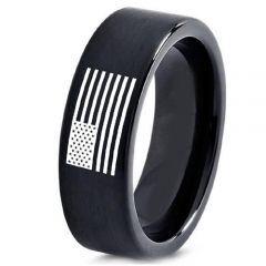 COI Black Tungsten Carbide American Flag Pipe Cut Ring-5010