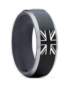 COI Tungsten Carbide Black Silver Ring With Britain Flag-TG5012