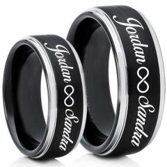 COI Tungsten Carbide Ring With Custom Names Engraving-TG5013