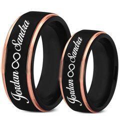 COI Tungsten Carbide Black Rose Custom Names Engraving Ring-TG5018