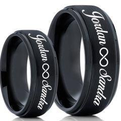 COI Black Tungsten Carbide Ring With Custom Names Engraving-5020