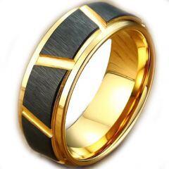 COI Tungsten Carbide Black Gold Tone Diagonal Grooves Ring-TG5023