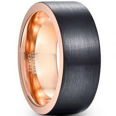 COI Tungsten Carbide Black Rose Pipe Cut Flat Ring-TG5029