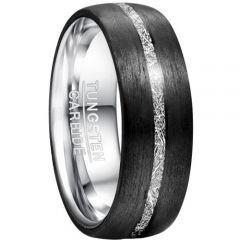 COI Tungsten Carbide Black Silver Meteorite Dome Ring-TG5034