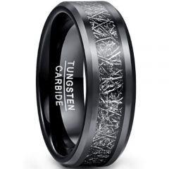 COI Black Tungsten Carbide Meteorite Beveled Edges Ring-TG5040