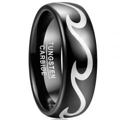 COI Black Tungsten Carbide Celtic Dome Court Ring-TG5042
