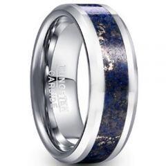 COI Tungsten Carbide Lapis Lazuli Beveled Edges Ring-TG5047