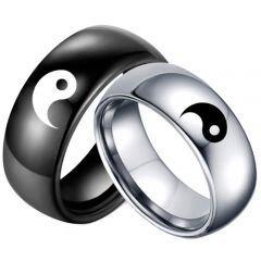 *COI Tungsten Carbide Yin Yang Symbol Dome Court Ring-TG5052