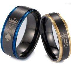 COI Tungsten Carbide Black Rose/Blue King Queen Ring-TG5053