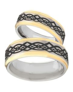 COI Gold Tone Tungsten Carbide Celtic Step Edges Ring-TG5085