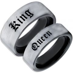 COI Tungsten Carbide Black Silver King Queen Ring-TG5094