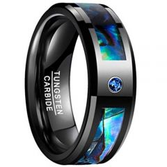 **COI Black Tungsten Carbide Abalone Shell Ring With Cubic Zirconia-TG5097