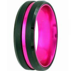 COI Tungsten Carbide Black Purple Center Groove Ring-TG5098