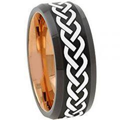 COI Tungsten Carbide Black Rose Celtic Beveled Edges Ring-TG5099