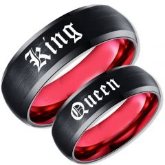 *COI Tungsten Carbide Black Red King Queen Ring-TG5100