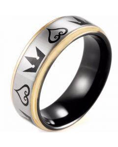 COI Tungsten Carbide Black Rose Kingdom & Hearts Ring-TG5104