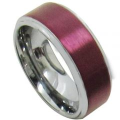 COI Tungsten Carbide Purple Red Beveled Edges Ring-TG5105