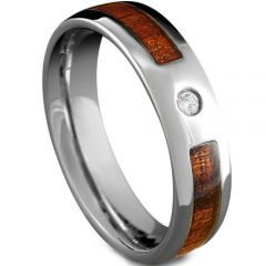 COI Tungsten Carbide Wood Cubic Zirconia Ring-TG5109