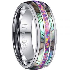 COI Tungsten Carbide Pink Crushed Opal and Abalone Shell Dome Court Ring-TG5133