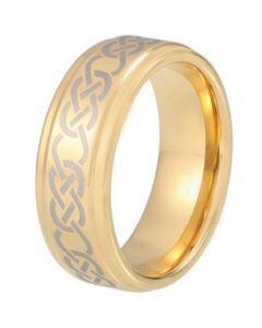 COI Gold Tone Tungsten Carbide Celtic Step Edges Ring-TG5213