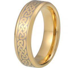 COI Gold Tone Tungsten Carbide Celtic Beveled Edges Ring-TG5217