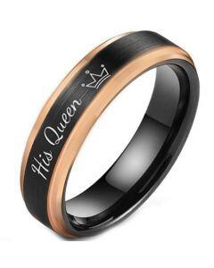 **COI Tungsten Carbide Black Rose His Queen Crown Step Edges Ring-5850