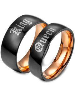 *COI Tungsten Carbide Black Rose King Queen Ring-TG679B