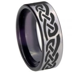 COI Tungsten Carbide Celtic Pipe Cut Flat Ring-TG768BB