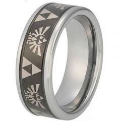 COI Tungsten Carbide Legend of Zelda Beveled Edges Ring-TG848