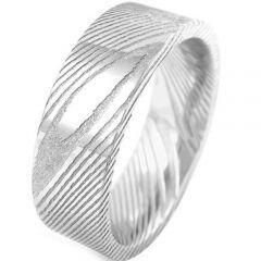 COI Tungsten Carbide Damascus Pipe Cut Flat Ring - TG920BB