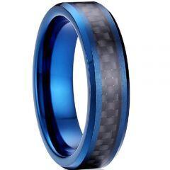COI Blue Tungsten Carbide Black Carbon Fiber Ring-TG4120A