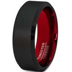 COI Tungsten Carbide Black Red Beveled Edges Ring-TG2547AA