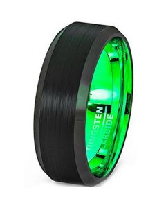 COI Tungsten Carbide Black Green Beveled Edges Ring-TG2566AA