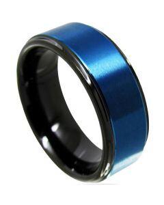 *COI Tungsten Carbide Black Blue Step Edges Ring-TG4320
