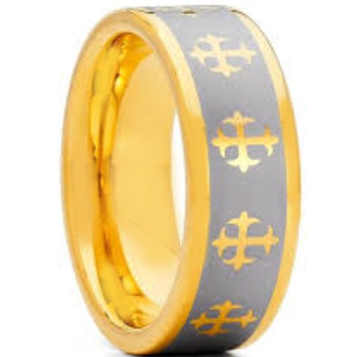 COI Gold Tone Tungsten Carbide Cross Pipe Cut Ring-TG1825