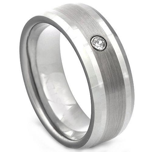 COI Tungsten Carbide Cubic Zirconia Dome Court Ring-TG2250