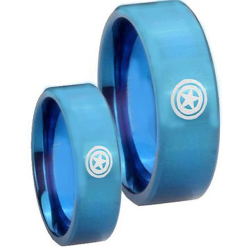 COI Blue Tungsten Carbide Captain America Pipe Cut Ring - 2657