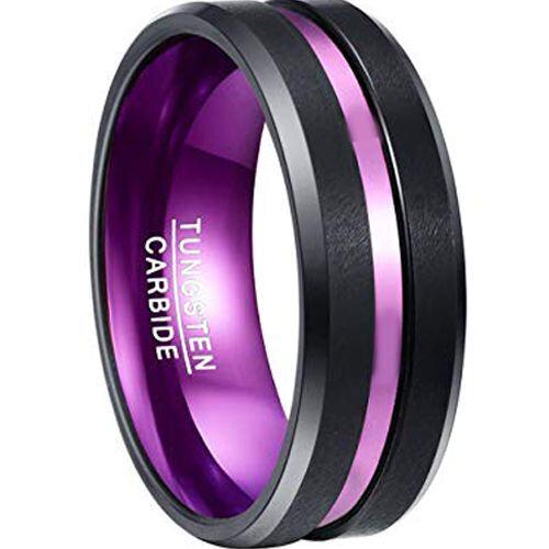 *COI Tungsten Carbide Black Purple Center Groove Ring- TG2950