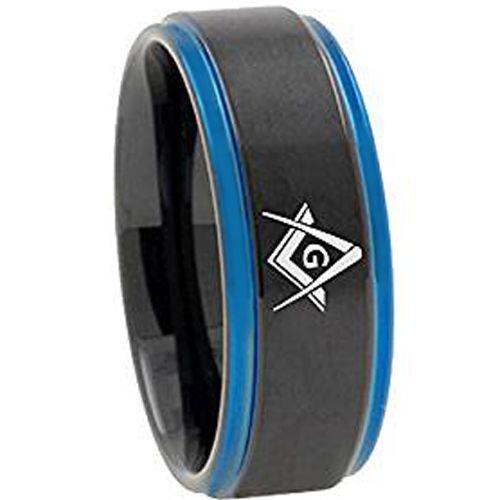 *COI Tungsten Carbide Black Blue Masonic Step Edges Ring-TG3092AA