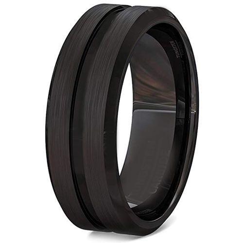 *COI Black Tungsten Carbide Center Groove Ring-TG3406BB