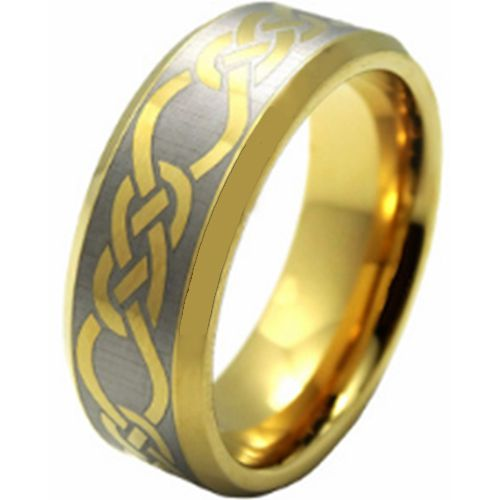 COI Gold Tone Tungsten Carbide Celtic Beveled Edges Ring-TG206AA
