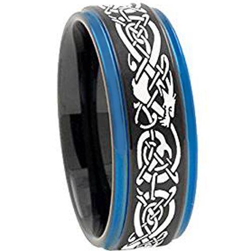 *COI Tungsten Carbide Black Blue Dragon Step Edges Ring-TG3797