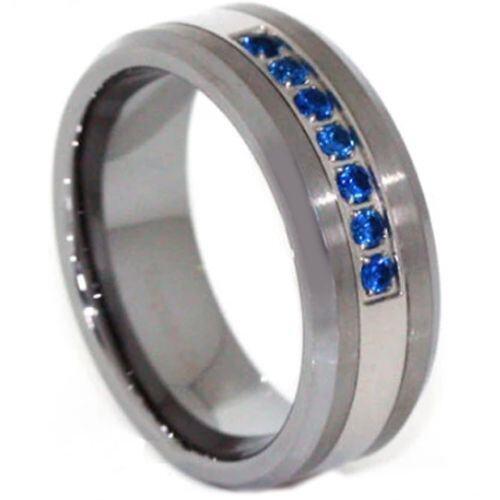*COI Tungsten Carbide Created Sapphire Beveled Edges Ring-3813