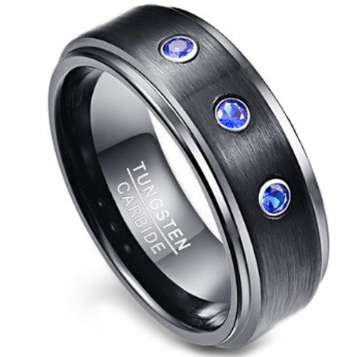 COI Black Tungsten Carbide Ring With Created Sapphire-TG3851