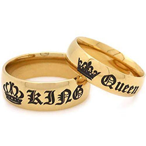 *COI Gold Tone Tungsten Carbide King Queen Crown Ring-TG4054AA