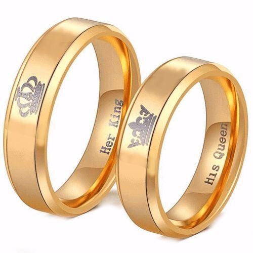 *COI Gold Tone Tungsten Carbide King Queen Crown Ring-TG4056AA