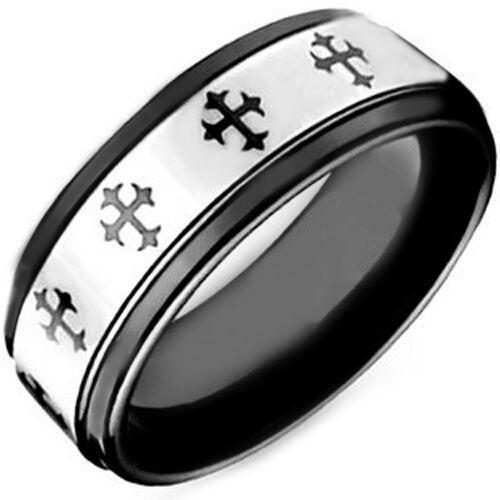 COI Tungsten Carbide Cross Step Edges Ring - TG4096