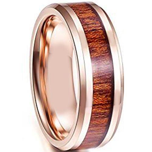 COI Rose Tungsten Carbide Wood Beveled Edges Ring-TG4114