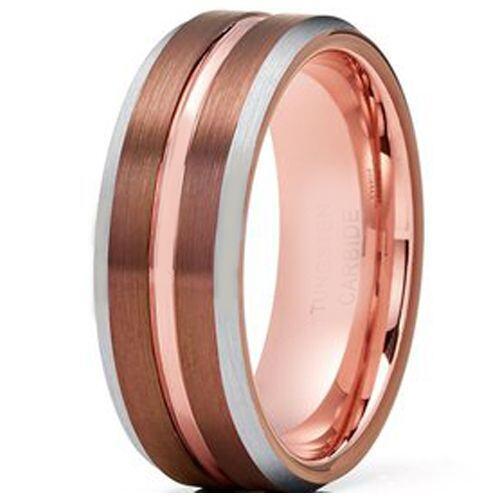 COI Tungsten Carbide Espresso Rose Center Groove Ring-4217